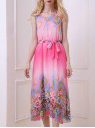 Bohemian Sleeveless Floral Print  Women's Midi Chiffon Dress