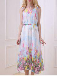 Bohemian Floral Print Chiffon Dress