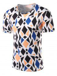 Slimming Geometric Figure Printed Round Collar Short Sleeves T-Shirts For Men - COLORMIX XL