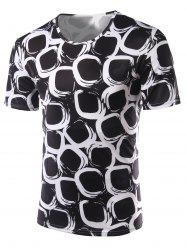 Slimming Printing Round Collar Short Sleeves T-Shirts For Men - BLACK 2XL