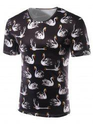 Slimming Swan Printing Round Collar Short Sleeves T-Shirts For Men