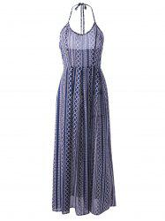 Ethnic Style Fitted Halterneck Backless Maxi Dress For Women