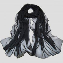 Chic High Quality Solid Color Chiffon Scarf For Women - BLACK