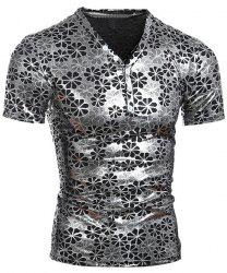 Pullover Short Sleeves Flower Printing T-Shirt For Men - SILVER XL