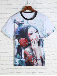 Flower and Beauty Print Round Neck Short Sleeves 3D T-Shirt For Men -