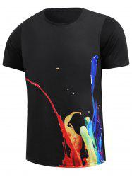 3D Colorful Pigment Splatter Paint Print T-Shirt