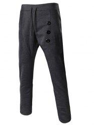 Lace-Up Buttons Embellished Narrow Feet Pants For Men -