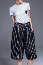 Fitting T-Shirt and Drawstring Striped Pants Twinset -