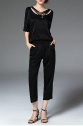 Black T-Shirt and Disassembled Zippered Pants Suit -