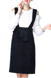 Pure Color Suspender Skirt -