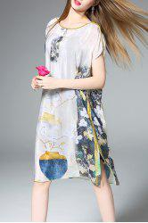 Slash Neck Floral Print Silk Straight Dress -