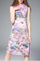Side Slit Reformed Qipao Dress in Purple -