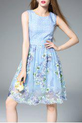 Sleeveless Embroidered Floral Blue Sundress -