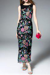 Maxi Embroidered Fitted Prom Dress -