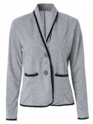 Graceful Shawl Collar Color Block Long Sleeve Blazer For Women -
