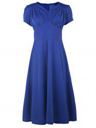 V Neck Short Sleeve Ruched Prom Dress - BLUE M