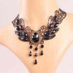 Vintage Hollow Out Faux Crystal Water Drop Accessories Necklace
