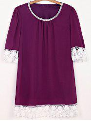 Casual Lace Insert Mini Shift Dress - PURPLISH RED