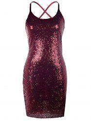 Halter Sequined Sparkly Tight Party Dresses - WINE RED