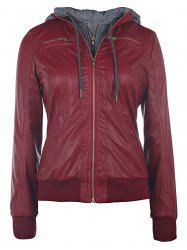 Faux Twinset PU Leather Double Zipper Hooded Jacket - WINE RED