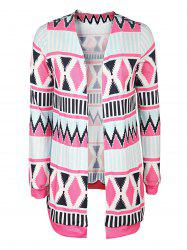 Trendy Collarless Long Sleeve Geometric Print Women's Cardigan