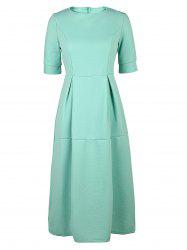 Round Neck Half Sleeve Puffball Midi Dress
