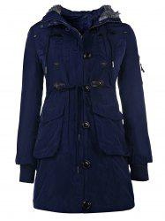 Stylish Hooded Long Sleeve Zippered Faux Fur Embellished Women's Coat - BLUE
