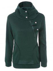 Long Sleeve Pockets Inclined Zipper Pullover Hoodie - GREEN