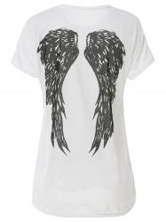Casual Scoop Neck Wing Pattern Loose-Fitting T-Shirt For Women