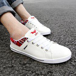 Sports Style Checked and PU Leather Design Casual Shoes For Men -