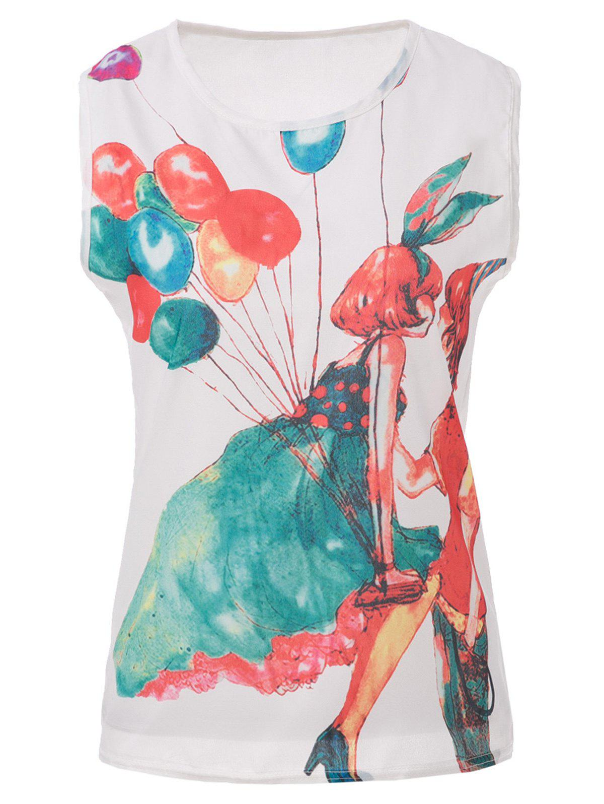 Latest Fashionable Scoop Collar Balloon Girl Print Chiffon Women's Tank Top
