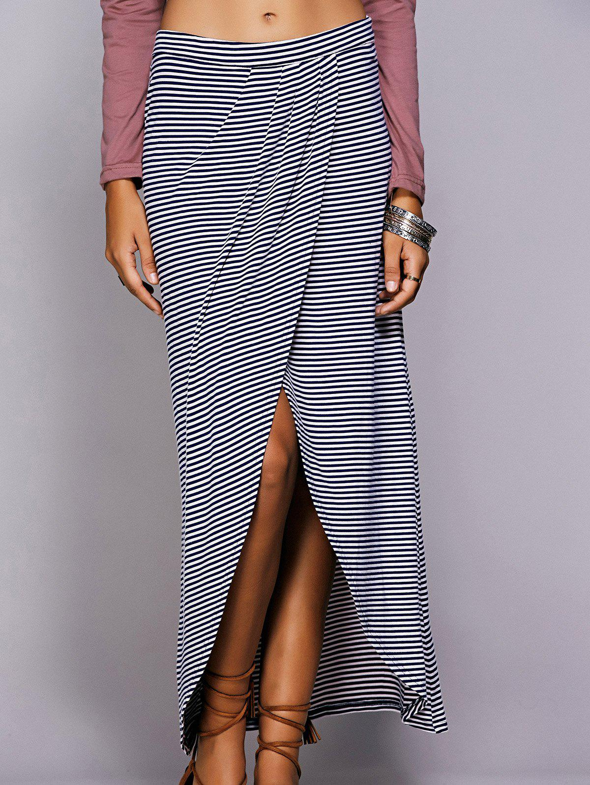 Store Striped Maxi Skirt With High Slit