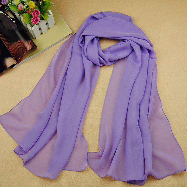 Chic High Quality Solid Color Chiffon Scarf For WomenACCESSORIES<br><br>Color: LIGHT PURPLE; Scarf Type: Scarf; Group: Adult; Gender: For Women; Style: Fashion; Material: Polyester; Season: Fall,Spring,Summer; Scarf Length: 135-175CM; Scarf Width (CM): 50CM; Weight: 0.073kg; Package Contents: 1 x Scarf;