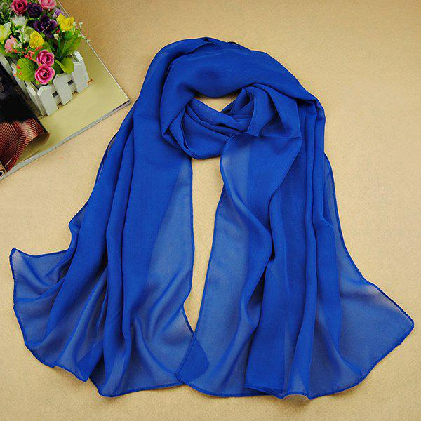 Chic High Quality Solid Color Chiffon Scarf For WomenACCESSORIES<br><br>Color: SAPPHIRE BLUE; Scarf Type: Scarf; Group: Adult; Gender: For Women; Style: Fashion; Material: Polyester; Season: Fall,Spring,Summer; Scarf Length: 135-175CM; Scarf Width (CM): 50CM; Weight: 0.073kg; Package Contents: 1 x Scarf;