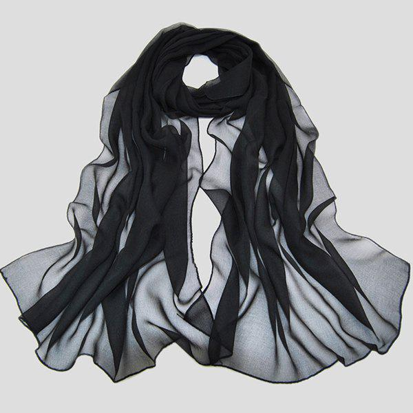 Chic High Quality Solid Color Chiffon Scarf For WomenACCESSORIES<br><br>Color: BLACK; Scarf Type: Scarf; Group: Adult; Gender: For Women; Style: Fashion; Material: Polyester; Season: Fall,Spring,Summer; Scarf Length: 135-175CM; Scarf Width (CM): 50CM; Weight: 0.073kg; Package Contents: 1 x Scarf;