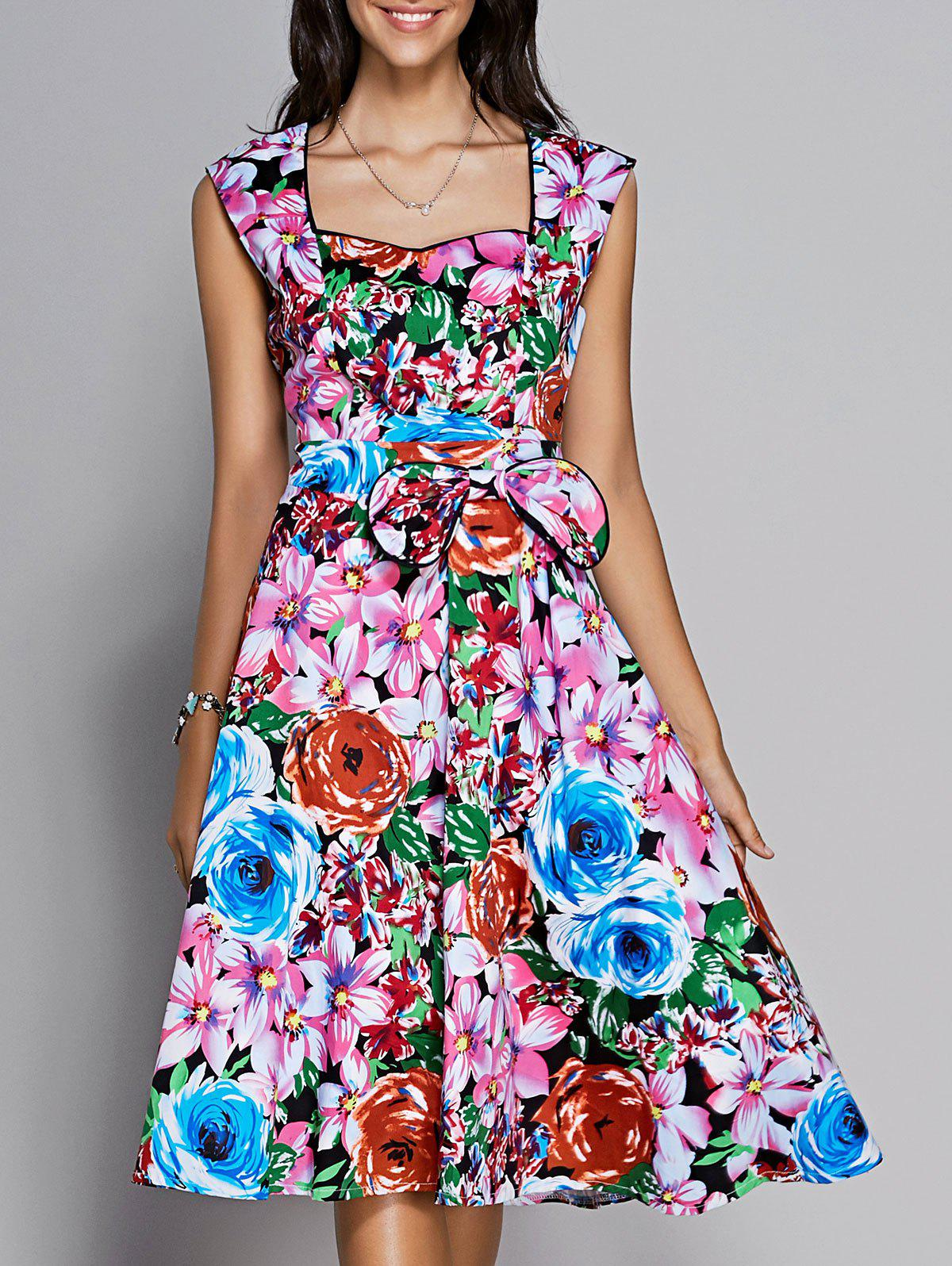 Floral Sweetheart Neck Knee Length Flare Dress DRESSFO