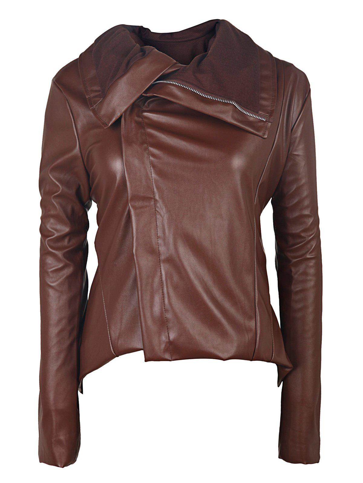 Best Long Sleeve Asymmetrical Faux Leather Jacket with Fur Collar