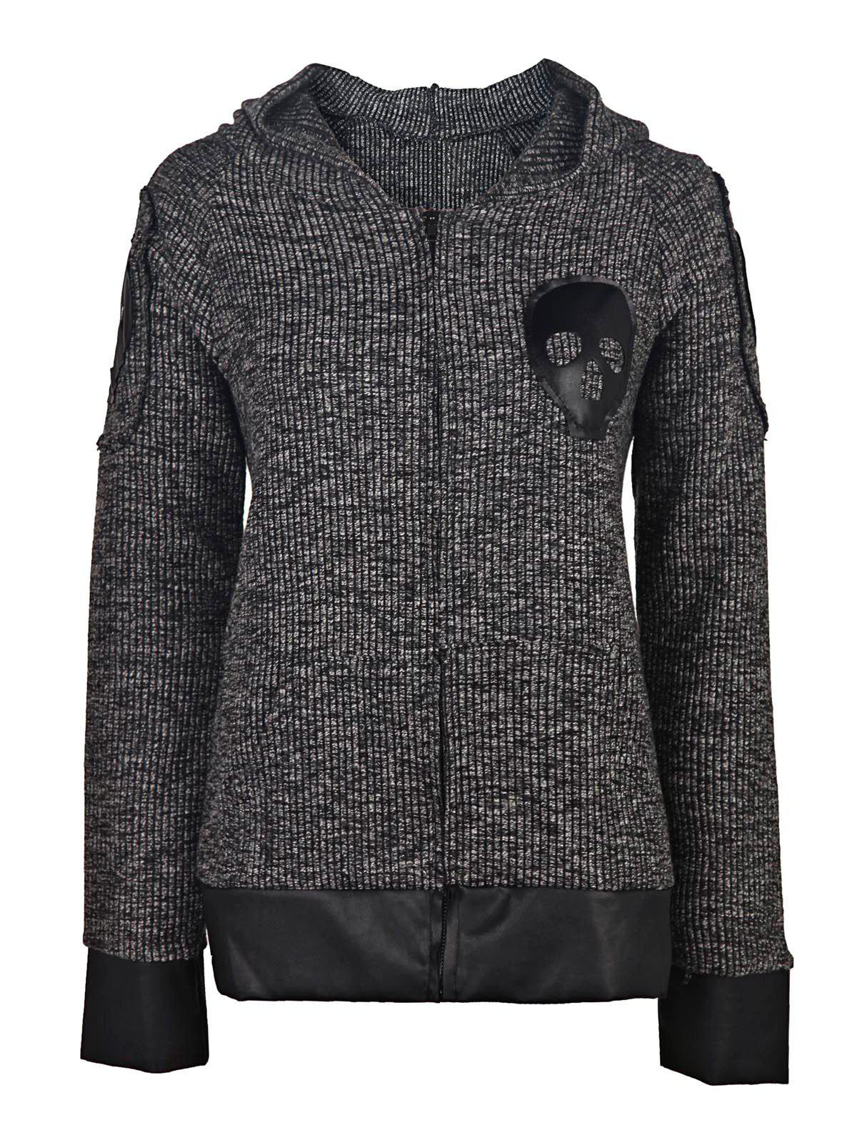 Chic Skull Printed Faux Leather Spliced Zip Up Hoodie For Women