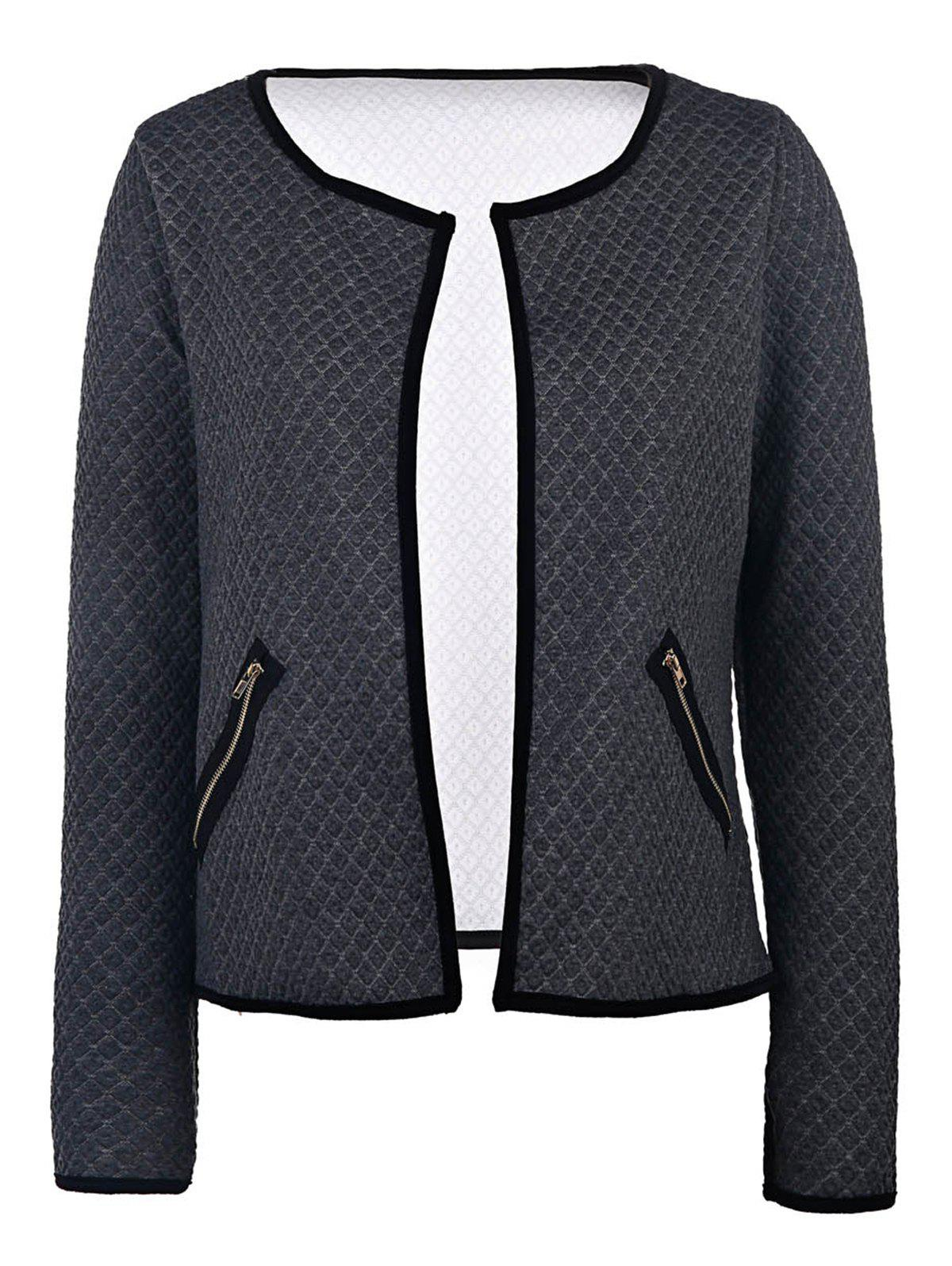 Fancy Stylish Scoop Neck Long Sleeve Embossed Jacket For Women