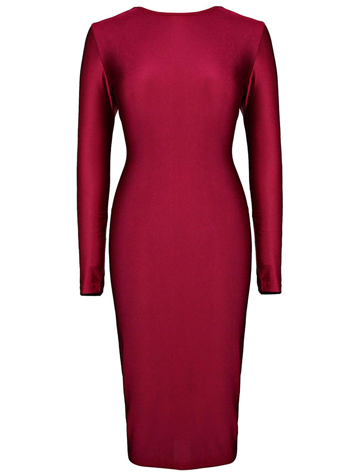 Fashion Plunging Neck Long Sleeve Bodycon Women's Dress