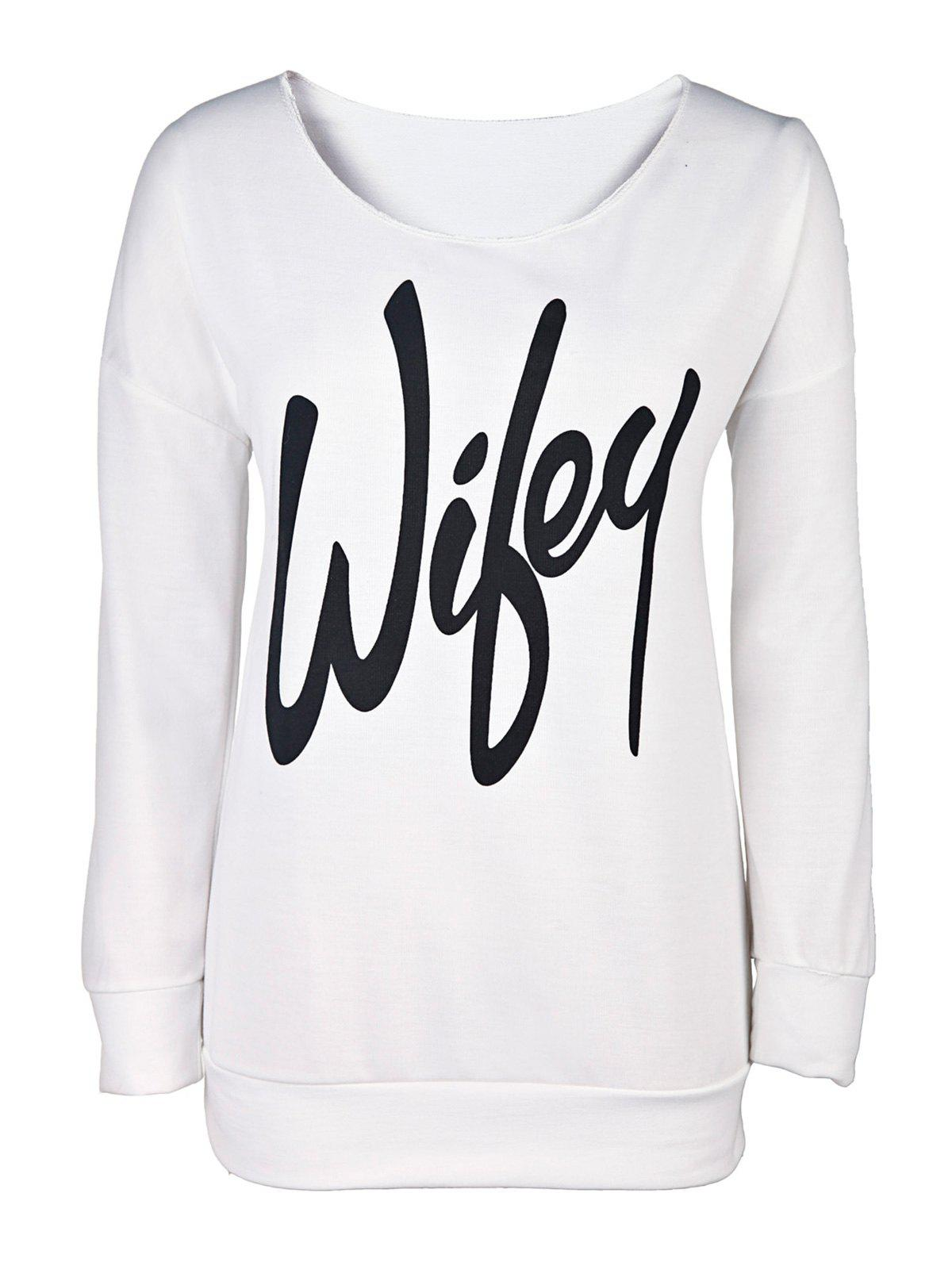 Unique Sexy Letter Printed Slash Neck Pullover Sweatshirt For Women
