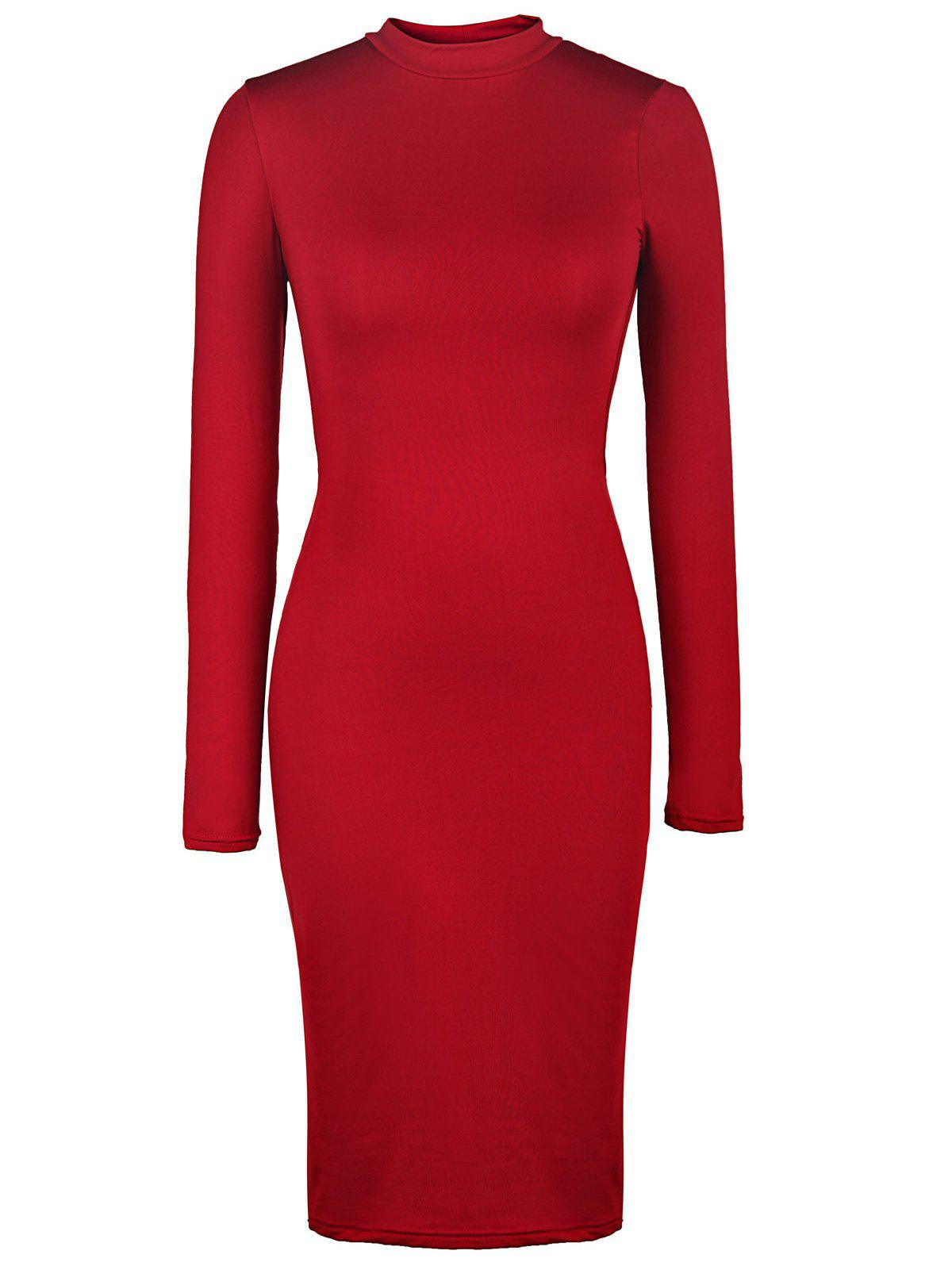 Back Cut Out Bodycon Long Sleeve Midi DressWOMEN<br><br>Size: M; Color: WINE RED; Style: Sexy &amp; Club; Material: Polyester; Silhouette: Sheath; Dresses Length: Knee-Length; Neckline: Stand; Sleeve Length: Long Sleeves; Embellishment: Hollow Out; Pattern Type: Solid; With Belt: No; Season: Fall; Weight: 0.330kg; Package Contents: 1 x Dress;