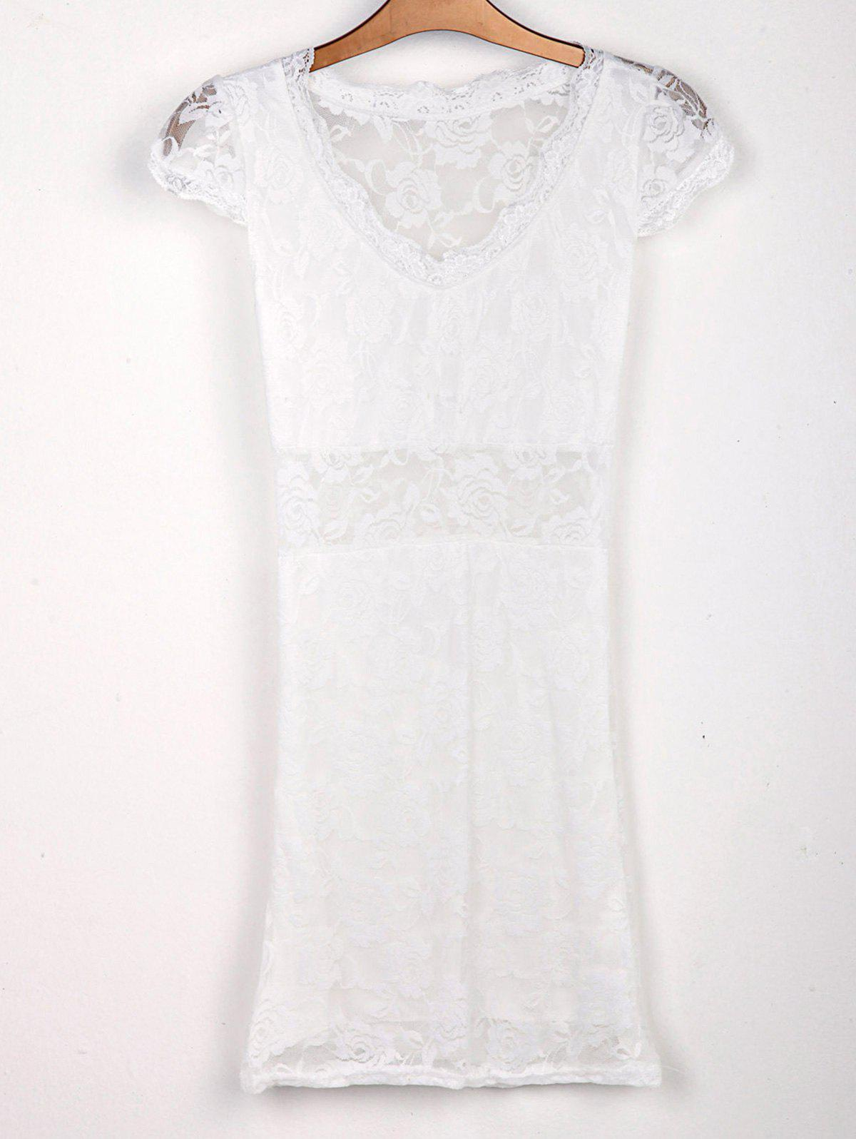 Cheap Sexy Plunging Neck Short Sleeve Hollow Out Bodycon Lace Women's Dress