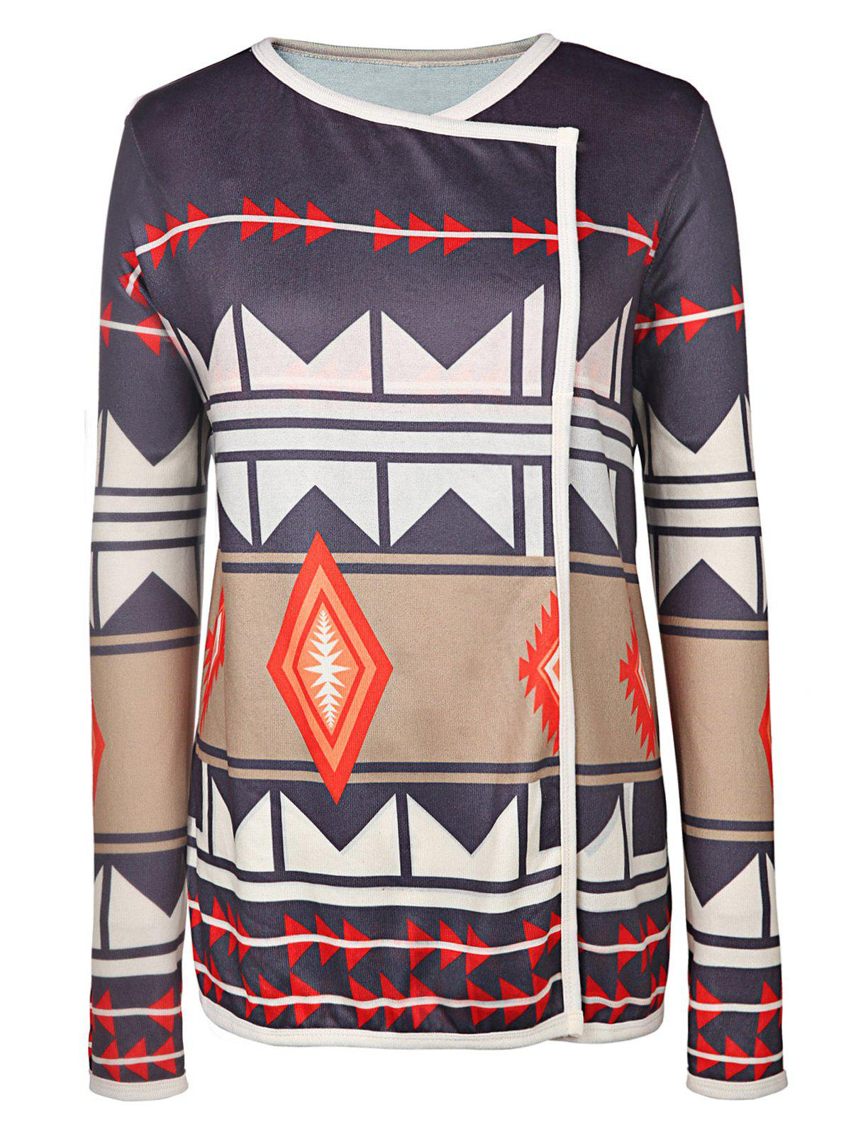 Fancy Trendy Turn-Down Neck Long Sleeve Geometric Pattern Women's Cardigan