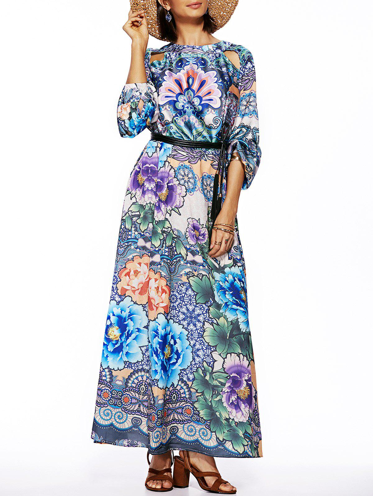 Shops Bohemian Style Women's Long Sleeve Floral Print Round Neck Dress