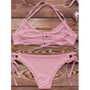 Spaghetti Strap Lace Up String Bathing Suit - PINK S