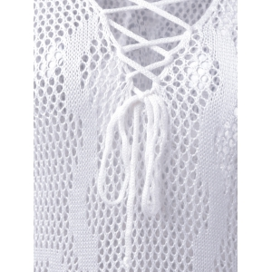 Causal Openwork V Neck Lace Up Long Sleeve Blouse For Women -