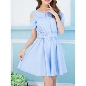 Sweet Turn-Down Collar Cold Shoulder Bowknot Dress For Women -
