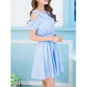 Sweet Turn-Down Collar Cold Shoulder Bowknot Dress For Women - AZURE S