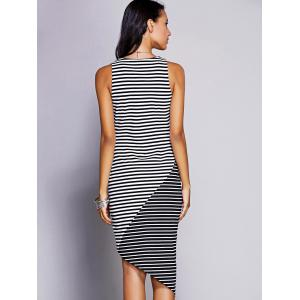 Asymmetrical Striped Tank Casual Dress - BLACK L